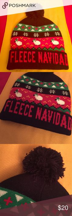 🆕 Fleece Navidad Pom Pom Beanie 🎄Oh What A Funny Play on Words! Merry Christmas! Girls & also Women. OS. Midnight Navy with Alpine Print ( White, Red, & Green). Fun Rows of Sheep in Beanies & above, another Fun Row of Snowflakes all around the Hat. Midnight Navy Pom Pom. Deep Cuff with Fun Red Graphics. Looks like 100% Acrylic. Brand New. Excellent Condition. No Trades. Capelli of New York Accessories Hats