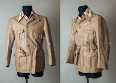 Beige yellow  leather jacket / Men's leather by CandyManVintage