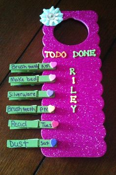 Cute idea for routines such as end of day clean up