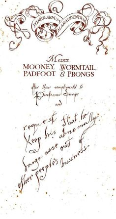 Messrs. Mooney, Wormtail, Padfoot and Prongs