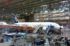 Boeing 787 at the plant in Everett, WA.