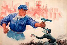 A classic North Korean war era anti-American imperialism poster Chinese Propaganda Posters, Chinese Posters, Propaganda Art, American Imperialism, Kim Kardashian Bikini, Communist Propaganda, Chinese Man, Korean War, North Korea