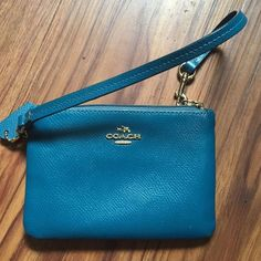 Leather Coach wristlet Like new. Teal blue. Coach Bags Clutches & Wristlets