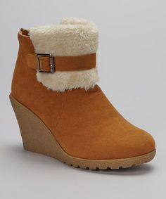 Another great find on #zulily! Tan Buckle Faux Shearling  Bootie by Shoes of Soul #zulilyfinds