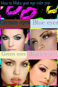 How to make your eye color pop: For brown eyes- a common myth in eyeshadow is that you should use eyeshadow that's the same color as your eyes... That's so NOT true;), To really highlight your brown eyes use a blue eyeshadow that contrast your color. For Blue Eyes: use a bronze color for darker blue eyes and chocolate for lighter ones.  For green: use brown and cream colors that are lighter than your eyes to make the green pop. For black/very dark brown: I like to use pale pinks and…