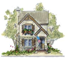 House Plan 66631 - Country , European , House Plan with 1703 Sq Ft, 3 Bed, 3 Bath Narrow Lot House Plans, European House Plans, House Plans One Story, Family House Plans, European Home Decor, Best House Plans, Tiny House Plans, European Style, Unique Small House Plans
