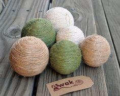 Rustic Christmas Tree Ornaments - Set of 6 Handmade Ornaments Jute Burlap Natural and Green Twine