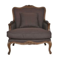 French 2 seater Chocolate Weave Armchair - 87.5l x 90w x 101h       This classic french design armchair is generous in size and is handcrafted from the finest American Oak and upholstered in a range of fabrics and colours. The armchair is part of a range that includes a matching ottoman.