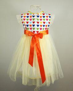Girls Rainbow Heart Party Dress  Tulle by alexandrakingdesign