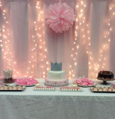 Princess Baby Shower Theme - To get the soft glow look, add a layer of light pink tulle over the lights