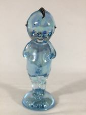 RARE Signed Painted 1981 Blue Iridescent Kewpie Glass Doll EB