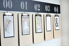 Fun way to display year-by-year kid's photos! via designdininganddiapers.com