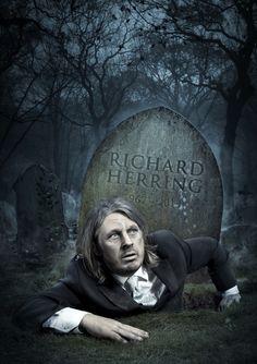richard herring die BTS: Comedian Richard Herrings Creepily Dark Comedy Poster Shoot