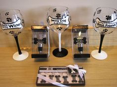 Love dogs and wine? Fido Park Avenue carries a complete set of doggy-themed wine glasses, wine stoppers, and wine charms to make your friends pant with envy!