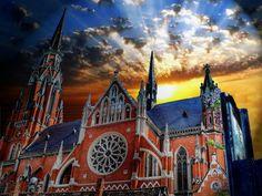 Osijek cathedral / Croatia / dramatic sky / sunset / neo-gothic architecture