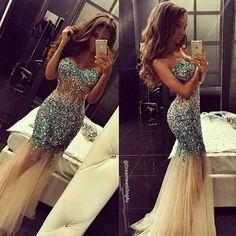 Mermaid look.  Blue sequence. Beautiful dress.