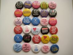 """I need these!!! 30 Scrapbooking Crop Phrases Images 1"""" Pin back buttons. $14.25, via Etsy."""