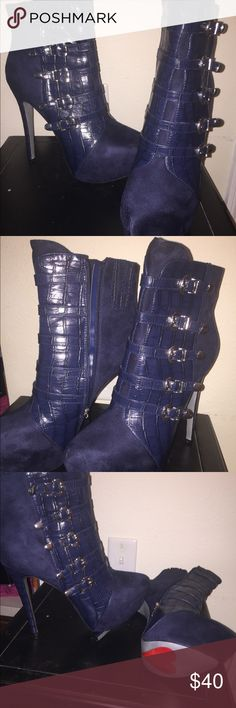 Navy blue suede heels Brand new!!! Shoes Heeled Boots
