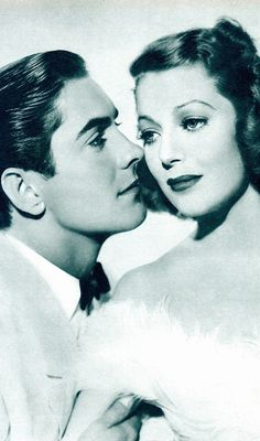 Beautiful stars TYRONE POWER & LORETTA YOUNG starred in 5 films together. These included Ladies in Love '36, Love is News '37, Cafe Metropole '37, Second Honeymoon '38 (seen here) & Suez '38.  From 1939 Film Pictorial Annual (please follow minkshmink on pinterest) #jtyronepower #lorettayoung #glamour #beautiful