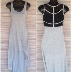 """High Low Maxi Black mesh with grey straps on back. Shell: 65% Rayon, 35% Polyester. Contrast: 65% Polyester, 35% Cotton. Shoulder to bottom back is 53"""" long. Shoulder to bottom front is 34"""" long. Hem & Thread Dresses High Low"""