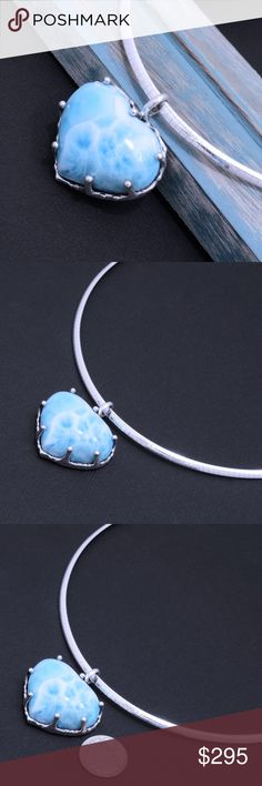 """Large 950 Sterling & Larimar Pendant with Collar Pendant Stamped """"950"""". Higher Sterling Finesse. authentic larimar. Pendant Hangs 35mm x 34. Heart shape.  Collar stamped """"925 Italy"""". Size 17 inches.  Sterling silver is an alloy of silver containing 92.5% by mass of silver and 7.5% by mass of other mThe sterling silver standard has a minimum millesimal fineness of 925.   The fitness on this pendant is 950.  All my jewelry is solid sterling silver. I do not plate.   crafted in Taxco, Mexico…"""