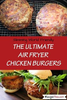 Best Comfort Foods The Ultimate Air Fry Food & Drink Healthy Snacks Nutrition Cocktail Recipes The Ultimate Air Fryer Chicken Burgers - how to make the best ever chicken burgers in the :) Fried Chicken Burger, Air Frying, Frugal Meals, Paleo Dinner, Burger Recipes, Air Fryer Recipes, Chicken Recipes, Chicken Treats, Burgers