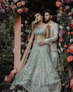 Pink Bridal Lehenga, Floral Lehenga, Bridal Dupatta, Blue Lehenga, Couple Wedding Dress, Wedding Wear, Wedding Dresses, India Wedding, Wedding Shoot