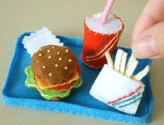 Adorable for American Girl party!! DIY Felt Mini Hamburger coursehamburgerfruit by fairyfox