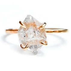 Herkimer Diamond Claw Ring