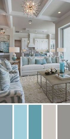 7 Best Living Room Color Schemes Sure to Brighten Your Mood ~ Popular Living Room Design Source by Coastal Living Rooms, Living Room Interior, Home Living Room, Beach Themed Living Room, Turquoise Living Rooms, Apartment Living, Turquoise Home Decor, Turquoise Room, House Of Turquoise