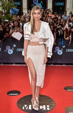 Gigi Hadid arrives at the 2015 MuchMusic Video Awards at MuchMusic HQ on June 21, 2015 in Toronto, Canada. (Photo by George Pimentel/WireImage)