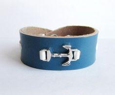 Mens anchor bracelet mens leather cuff bracelet by Bravemenjewelry