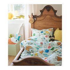FLICKÖGA Duvet cover and pillowcase(s), white, multicolor Twin white/multicolor