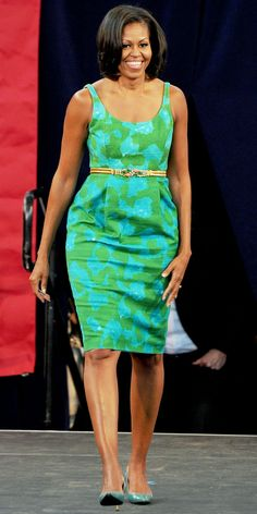 Michelle Obama looks lovely in her Chris Benz dress