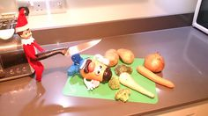 The Stewart Elf on the Shelf hanging out with Mr Potato Head for grown ups Mr Potato Head, Potato Heads, Paper Train, Naughty Elf, Elf Ideas, Hanging Out, Elf On The Shelf, More Fun, Shelves