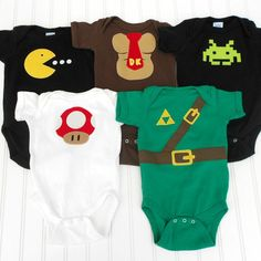 READY TO SHIP Video Gamer Deluxe Set Onesies - Pac Man, Donkey Kong, Space Invaders, Super Mario and Link from the Legend of Zelda. $60.00, via Etsy.