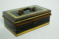 Antiques Atlas - Edwardian Jappaned Metal & Brass Cash Box By Chubb