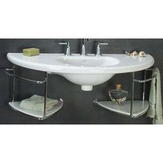 Rondelle White Semi-Recessed Wall Mounted Sink