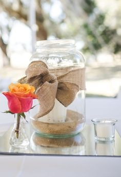 Easy centerpiece with burlap ribbon, big jar, square mirror, votive, and little clear vase. Maybe a floating candle in the mason jar? Chic Wedding, Wedding Bride, Rustic Wedding, Our Wedding, Floating Flowers, Floating Candle, Nautical Bridal Showers, Big Jar, Simple Centerpieces