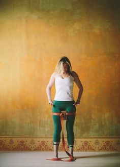 Tadasana with Block Between Thighs and Strap Around Thighs