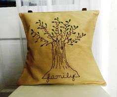 Personalized Family Tree Pillow Cover 16 inch. Fathers Day  Embroidery.  Family Names.  Family.  Light Brown or Gray. via Etsy