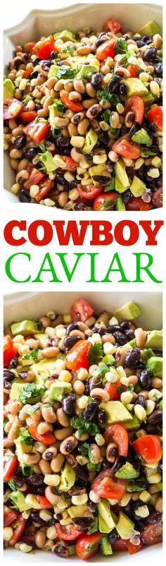 This Cowboy Caviar is one of my favorite recipes to bring to a potluck or BBQ. Beans, avocado, tomatoes, and corn tossed in a light dressing. Eat with chips or just a fork! the-girl-who-ate-...