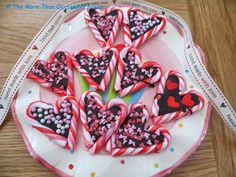 The more than occasional baker: Valentine Candy Cane Chocolate Hearts
