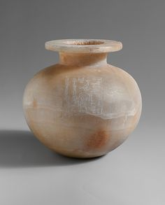 """Spherical Jar Inscribed with Hatshepsut's Titles as Queen. ca. 1492–1473 B.C.This small spherical ointment jar is inscribed:  """"King's Daughter, King's Sister, God's Wife, King's Great Wife (principal queen), Hatshepsut, may she live and endure like Re forever."""""""