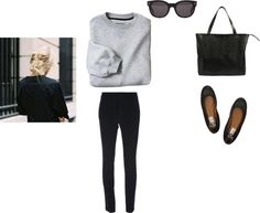 Comfy Chic by patricia-natalie featuring black shoes ❤ liked on PolyvoreShirts top / Dsquared2 black pants / Lanvin black shoes