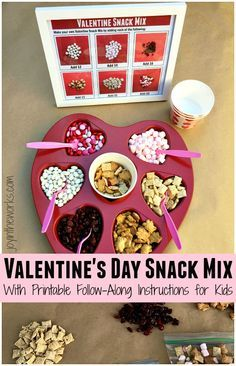 Looking for an easy Valentine's Day Snack that the kids can do independently? This Valentine's Day Snack Mix is perfect because it comes with printable follow along instructions for the kids!
