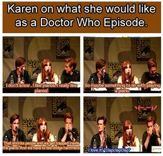Karen Gillan is showing her genius again. (But Arthur Darvill doesn't seem to think so) XD