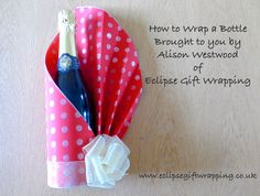 How to wrap a gift bottle of wine. Alison teaches you how to wrap a bottle beautifully so that you can take it to a special dinner party. Get your supplies f...