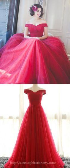 Off Shoulder Red Bridesmaid Dress, Red Prom Dresses,Off Shoulder Tulle Party Dress