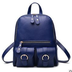 Women's Casual Quality Leather Large Size Buckle Accent Backpack 3 Colors